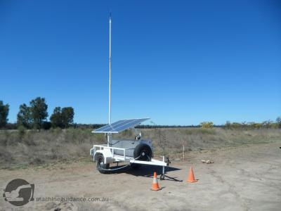 A semi-permanent, trailer-mounted GPS base station.