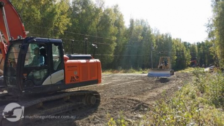 Subdivision roadworks with machine guidance