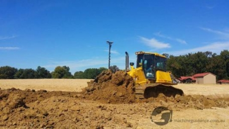 GPS-guided dozer on subdivision construction project.