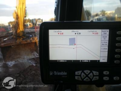 Inside the cab of a GPS-guided Excavator.